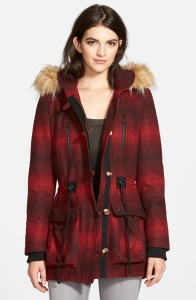 'Red Stripe' Hooded Duffle Coat with Faux Fur Trim